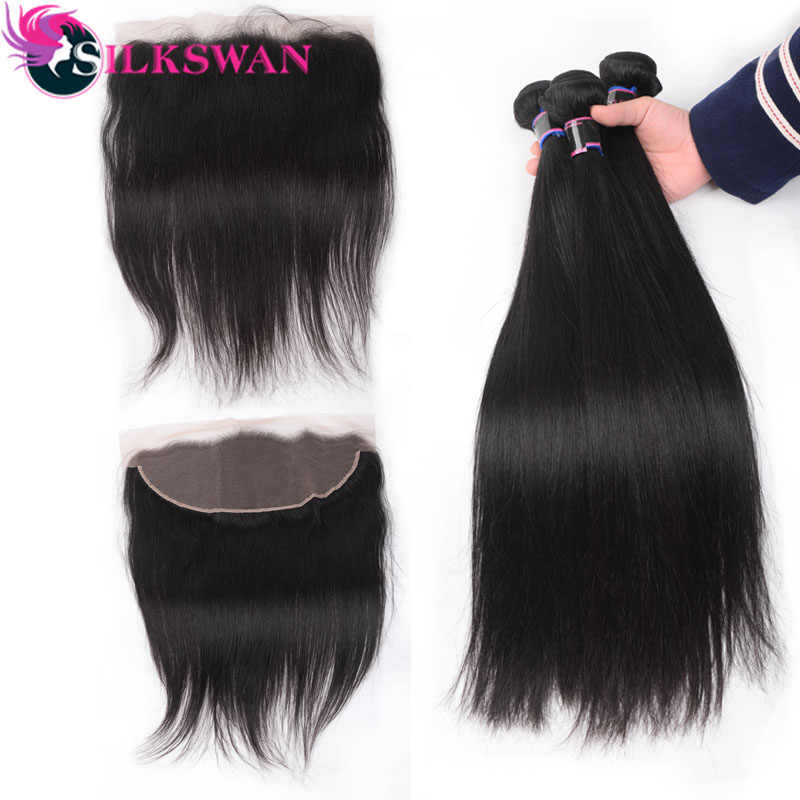 Silkswan Peruvian  Ear To Ear Lace Frontal With 3 Bundles  Straight Human Remy hair Weaves With Frontal  4 Pcs/Lot  8-24 Inch