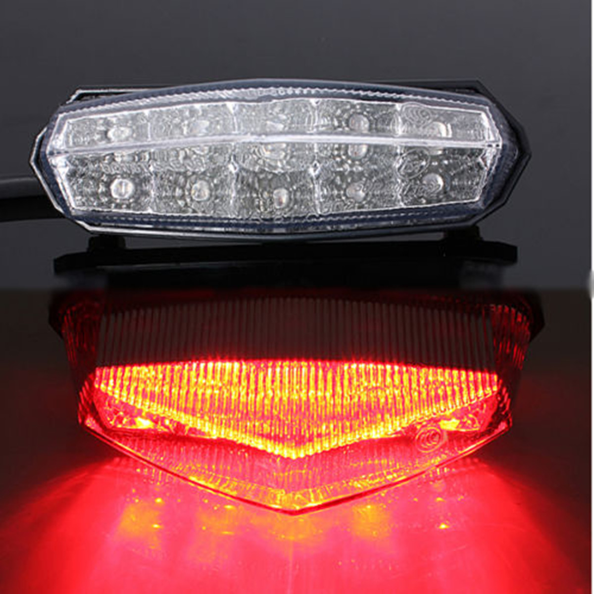 Motorcycle Motorbike ATV Quad LED License Plate Rear Tail Stop Brake Indicator Light Lamp