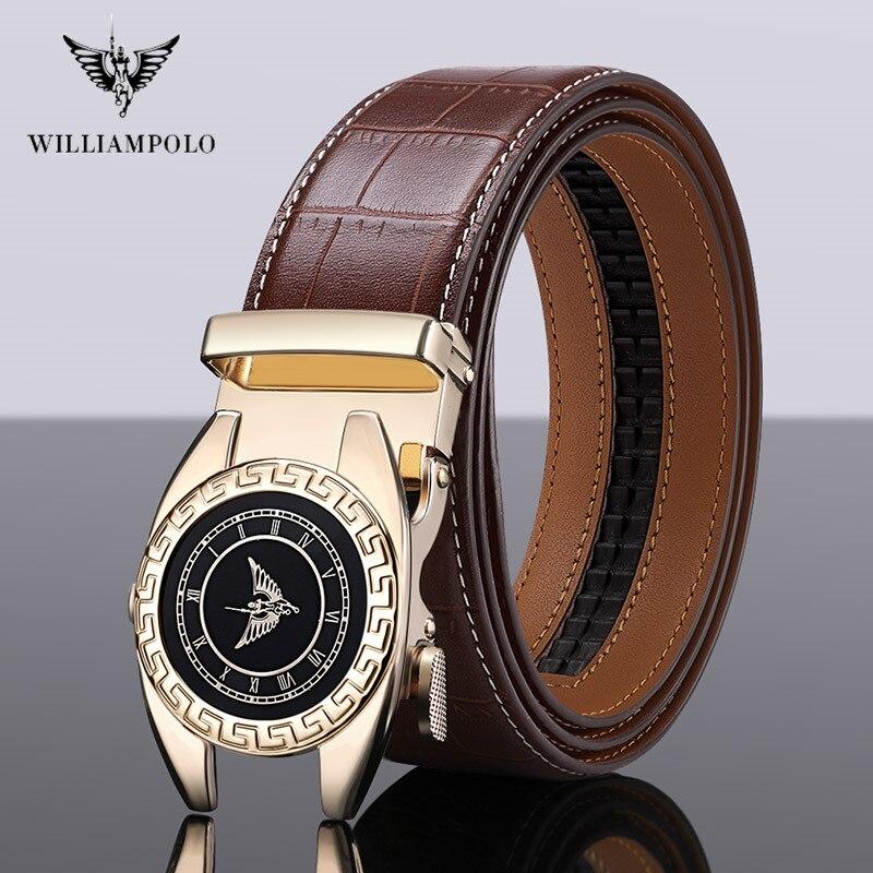 WilliamPolo Fashion Automatic Buckle Black Leather Belt Men's Belt Men's Leather Belt 3.5cm Width # 19518-20P