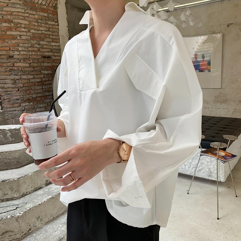 Men Long Sleeve Loose Casual White Shirts Male Women Vintage Fashion Streetwear Hip Hop Pullover Shirt
