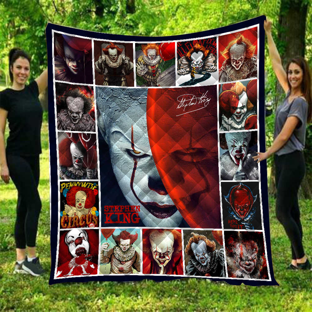 Anime Movie Clown It Printed Home Sofa Cover Quilt Queen Size Kids Adult Warm Blankets For Beds Soft Sofa Outdoor Camping Quilt