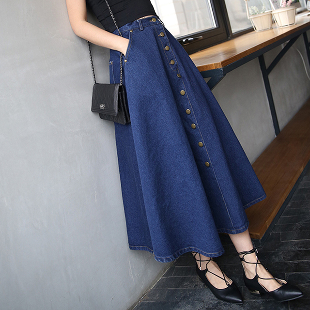 تنورة طويلة للسيدات بألوان سادة من قماش الدنيم على طراز بريبي كوري مواكب للموضة لعام 2020 ، تنورة عالية الخصر للنساء بحاشية كبيرة ، كاجول بسحّاب ، تنورة بأزرار
