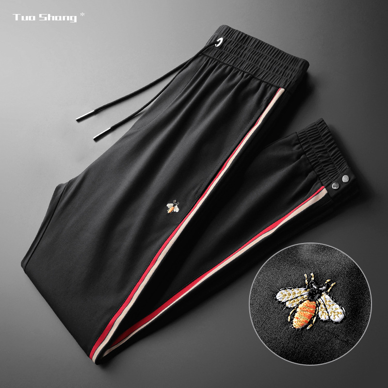 Fashion High Quality Bee Embroidery Stitching Men Sports Jogger Pants Drawstring Stitching Ribbon Personality Casual Trousers