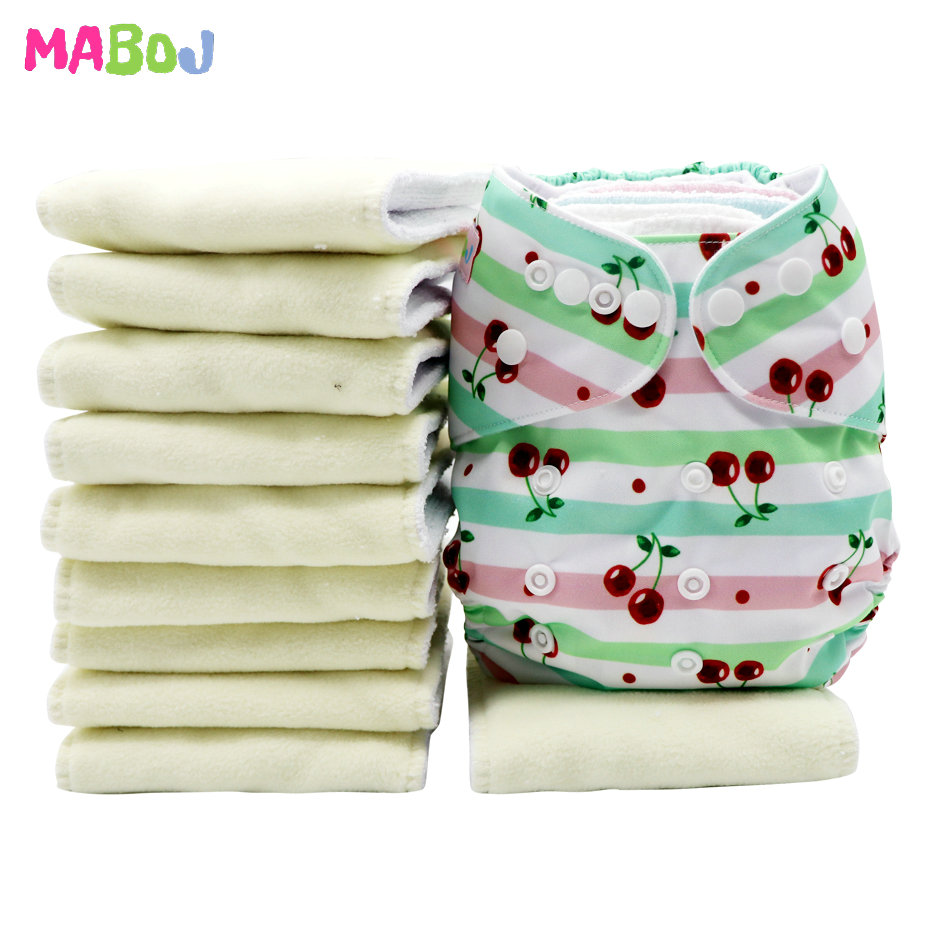 MABOJ Cloth Diaper Inserts Microfiber10pcs Washable Pocket Diapers Insert Reusable Cover Nappy 4 Layers Microfibre Microfleece