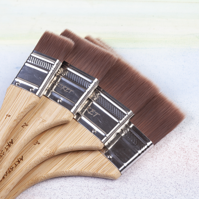 Gesso Paint Brush Flat TIP Synthetic Hair Bamboo Handle Acrylic Watercolor Oil Art Brush Painting Tool  Home Decor Art Supplies