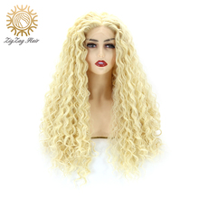 цена на ZigZag Deep Wavy Blonde Wig #613 Color Synthetic Lace Front Wigs for Women Glueless Heat Resistant Fiber Long Wavy Synthetic Wig