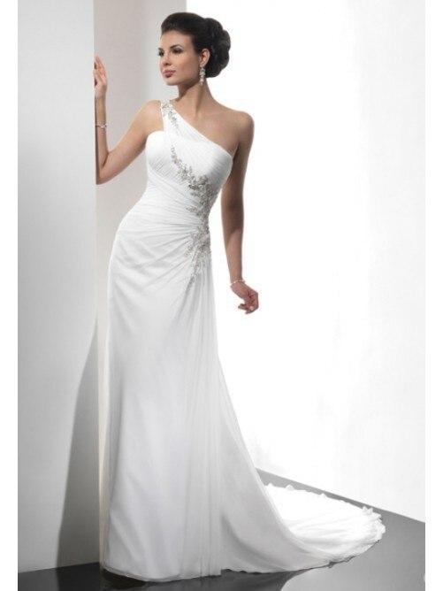 2015 NEW Sexy One-shoulder Chiffon Wedding Dresses Bridal Gowns Vestidos De Noiva Backelss