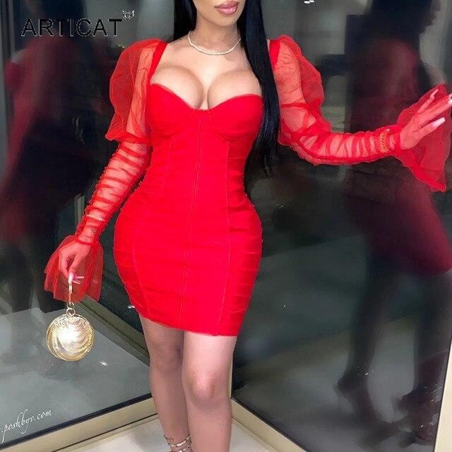 Articat Sexy Mesh Puff Sleeve Party Dress Women Low Collar Backless Patchwork Red Mini Dress Nightclub 2020 Spring Vestidos 1