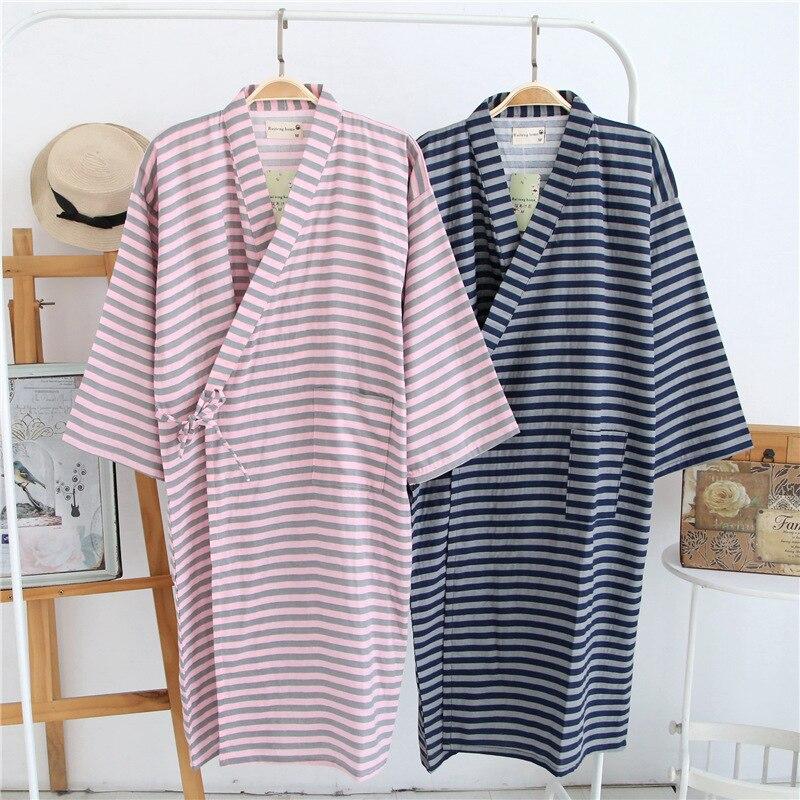 Shanghai Story Men Cotton Kimono Bathrobe With Pockets Robe Cross Striped Printed Sleepwear 2 Color