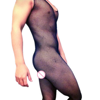 Male Underwear Sleeveless Bodystocking Men's Open Crotch Jumpsuit Fishnet Bodysuit Adult Sexy Lingerie Plus Size for Mens Exotic - discount item  25% OFF Exotic Apparel