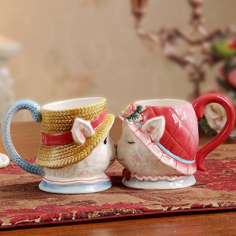 Набор чашек ручной работы из фарфора с кроликом, креативный практичный свадебный подарок, Юбилейный сувенир, кофейная чашка
