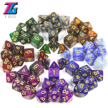 New Game Accessories Galaxy Green Black Glitter Dice Set Role Playing Games D&D RPG Party(China)
