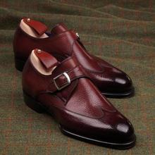 High-end masculino borgonha plutônio lychee padrão apontado dedo do pé único fivela de salto baixo confortável moda casual sapatos monge zq0032