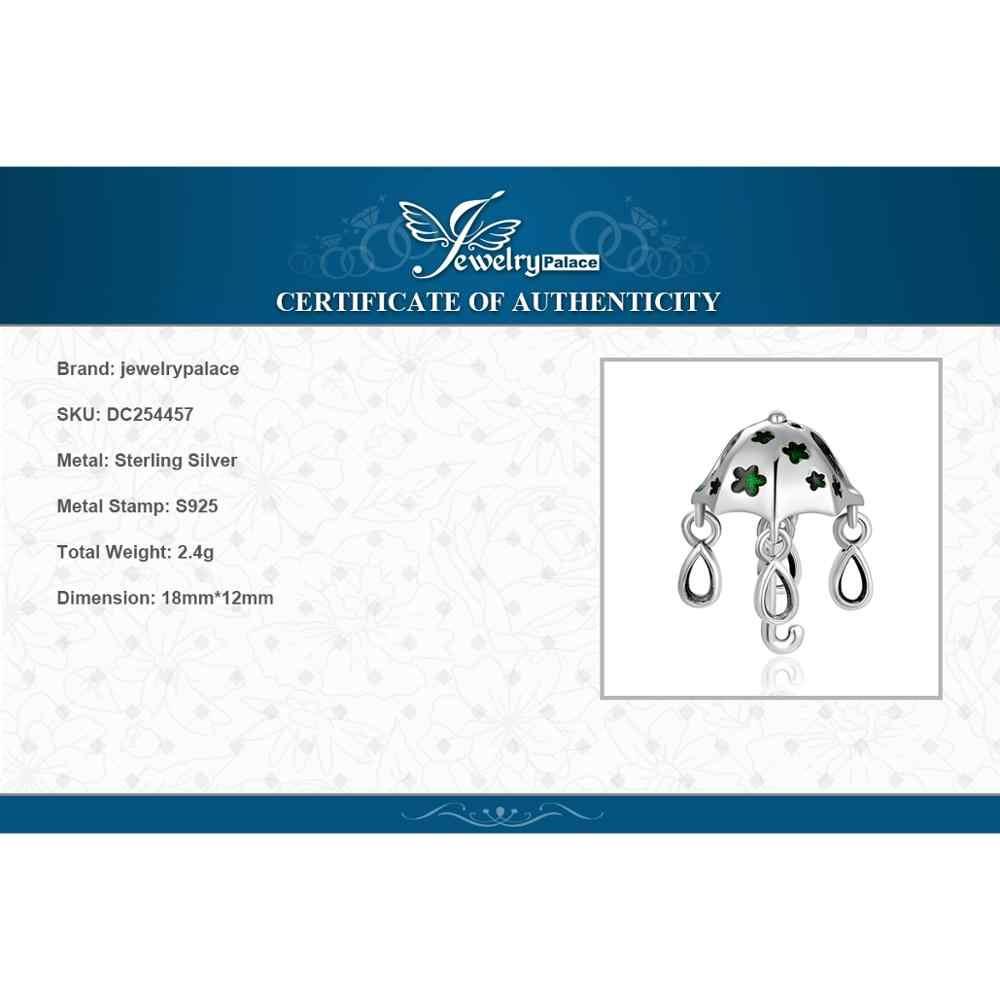 Jewelrypalace 925 Sterling Perline D'argento Verde Star Murano Ombrello Perline Pendenti E Ciondoli Misura I Braccialetti Gioelleria Raffinata E Alla Moda Che Fanno I Regali di Donne