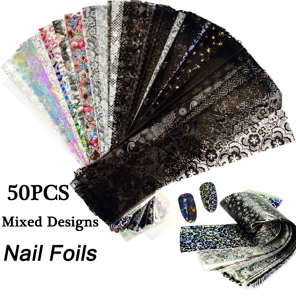 50pcs Laser Starry Sky Nail Foils Mixed Designs Nail Art Water Transfer Stickers Holographic Paper Decals Manicure Nail Decor