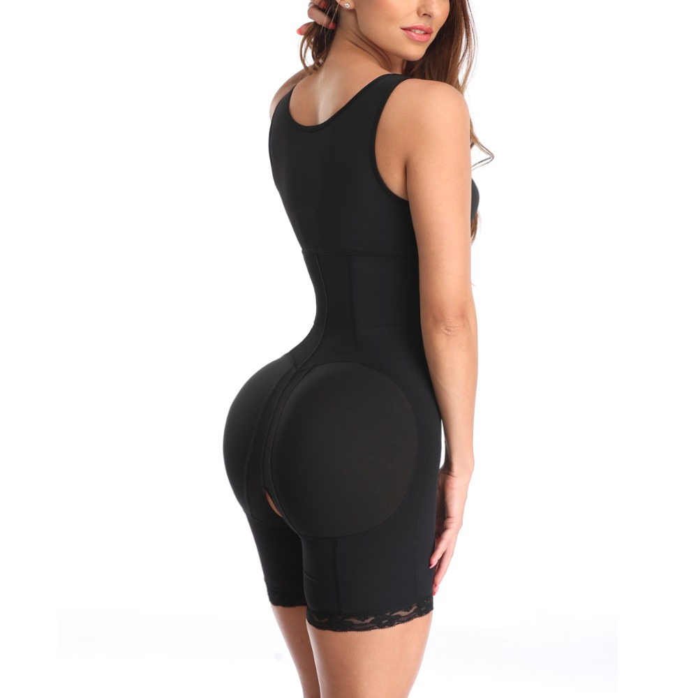Womens Body Shaper Butt Lifter Tummy Control Waist Shapewear Crotchless Slimming Bodysuit with Zipper Powernet Thigh Slimme 1901