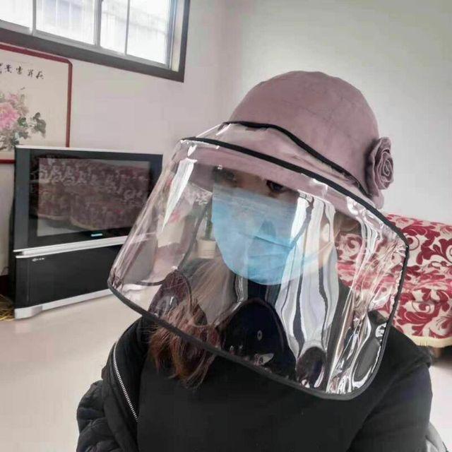 1pcs Clear Full Face Shield Hat-Mounted Transparent Mask Protective Cap Face Mask Plastic Anti-fog Saliva 3