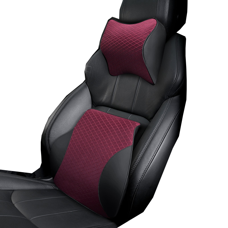 Polyester Auto Car Seat Back Lumbar Support And Neck Pillow Kit Car Headrest Back Pillow Memory Foam Cotton Black Red