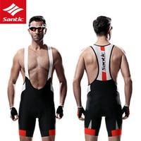 Santic Gel Padded Men Bicycle Cycling Bib Shorts Breathable Quick Dry MTB Mountain Road Bike Bib Shorts Riding Sport Shorts
