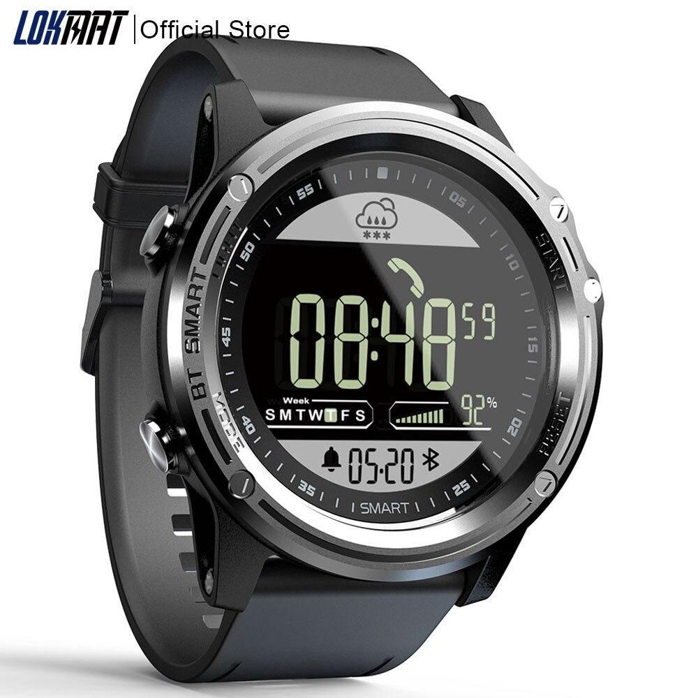 5ATM LOKMAT Esporte Relógio Inteligente Pedômetro À Prova D' Água Relógio de Tempo Real-time Digital Men SmartWatch Bluetooth Para IOS & Android