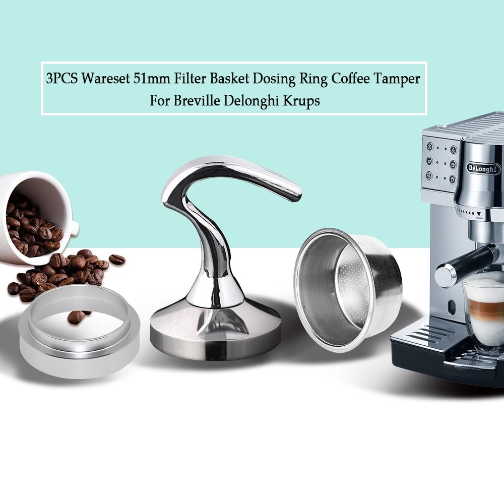 3PCS/Set Breville Delonghi Filter Krups 51MM Filter Basket Cup Coffee Tamper Dosing Ring Set Breville Coffeeware Birthday Gift