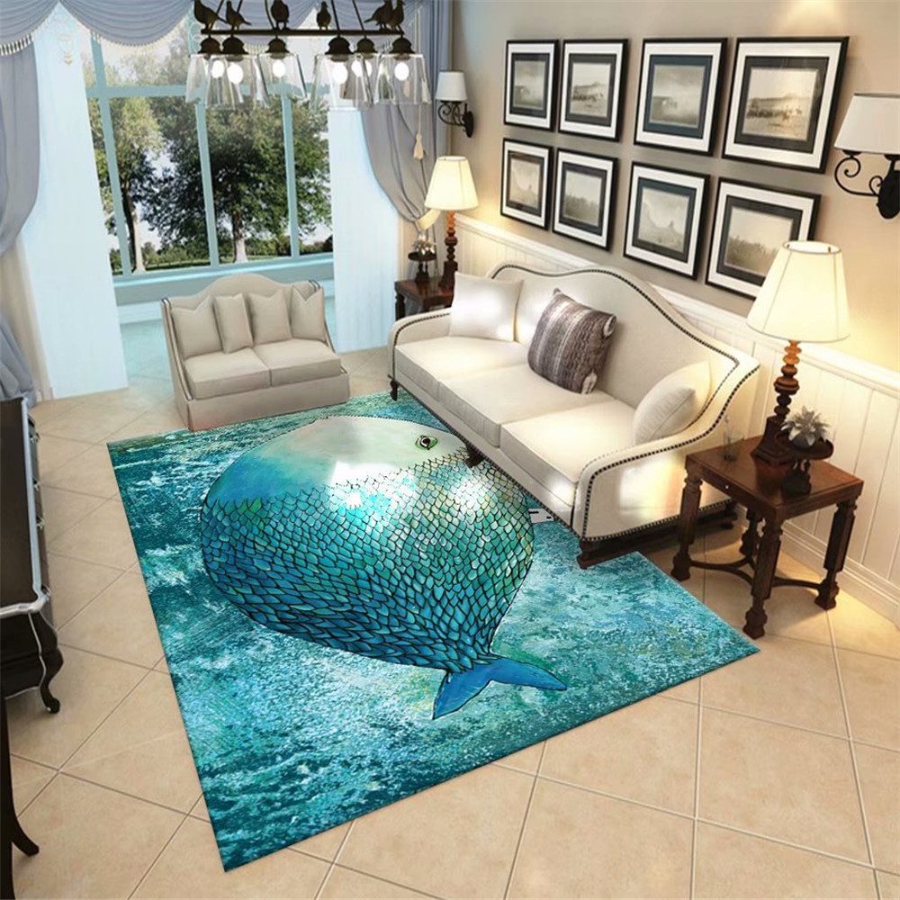 Nordic Style Parlor Carpet Area Rugs Flannel Soft Bedroom Rugs Bedside Mat Ocean Big Fish Large Carpet Living Room Modern