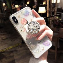 Shining Glitter Space Planet TPU Phone Case With Stander Transparent Soft Silicon for Iphone X XS XR Max 7 6 6S 8 6Plus