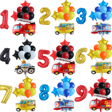 1-2-3-4-5st Birthday-Party-Decor Balloons Number Fire-Truck Globos Engineering-Train