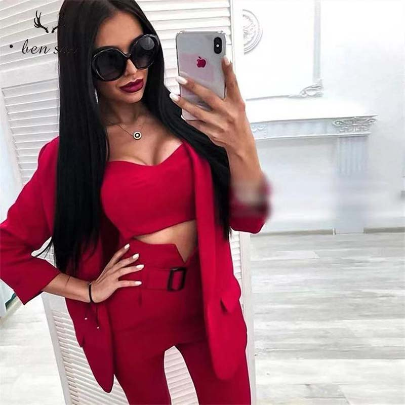 Women Fashion Sexy Elegant Blazer Suits Professional Set Temperament Coat Long Section High Waist Pants Suits Women New