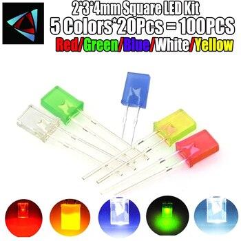100 sztuk/partia 2*3*4mm kwadratowy zestaw LED dioda emitująca światło zestaw 2X3X4 dioda LED czerwony żółty zielony niebieski biały 5 kolory