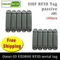 Uhf rfid metal tag omni-id exo800 915m 868mhz impinj monza4qt epc 100 pçs frete grátis durável abs cartão inteligente passivo rfid tags