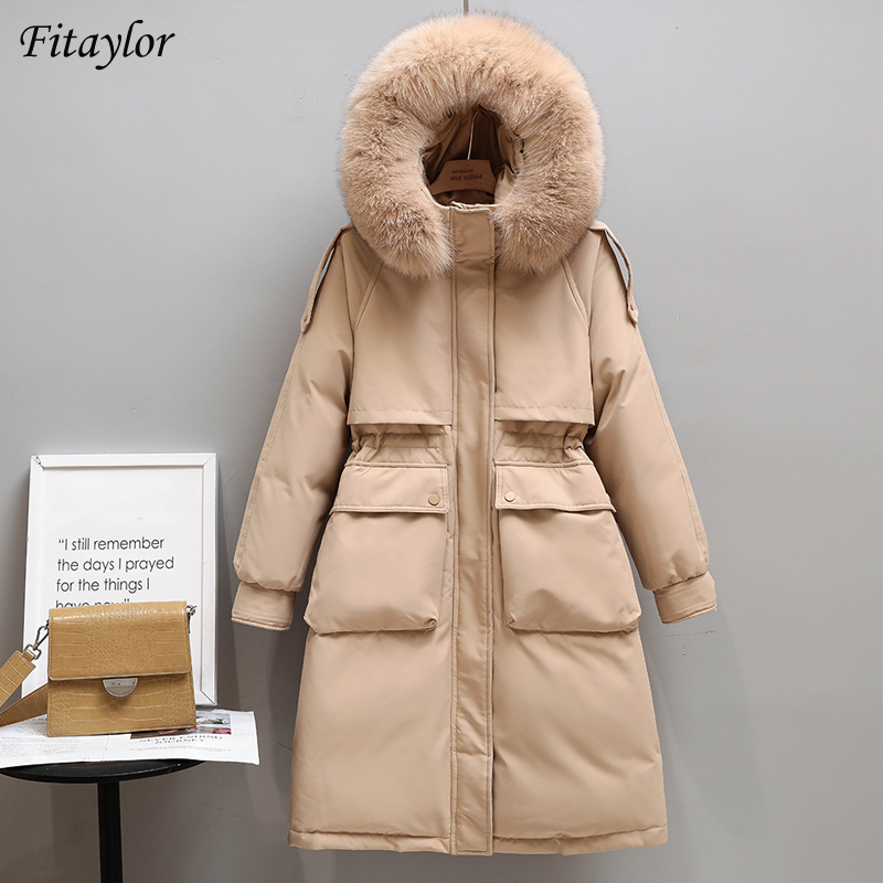 Fitaylor Winter Women Long Jacket Large Natural Fur Collar Hooded Parkas 90% White Duck Down Coat Thickness Snow Warm Outwear