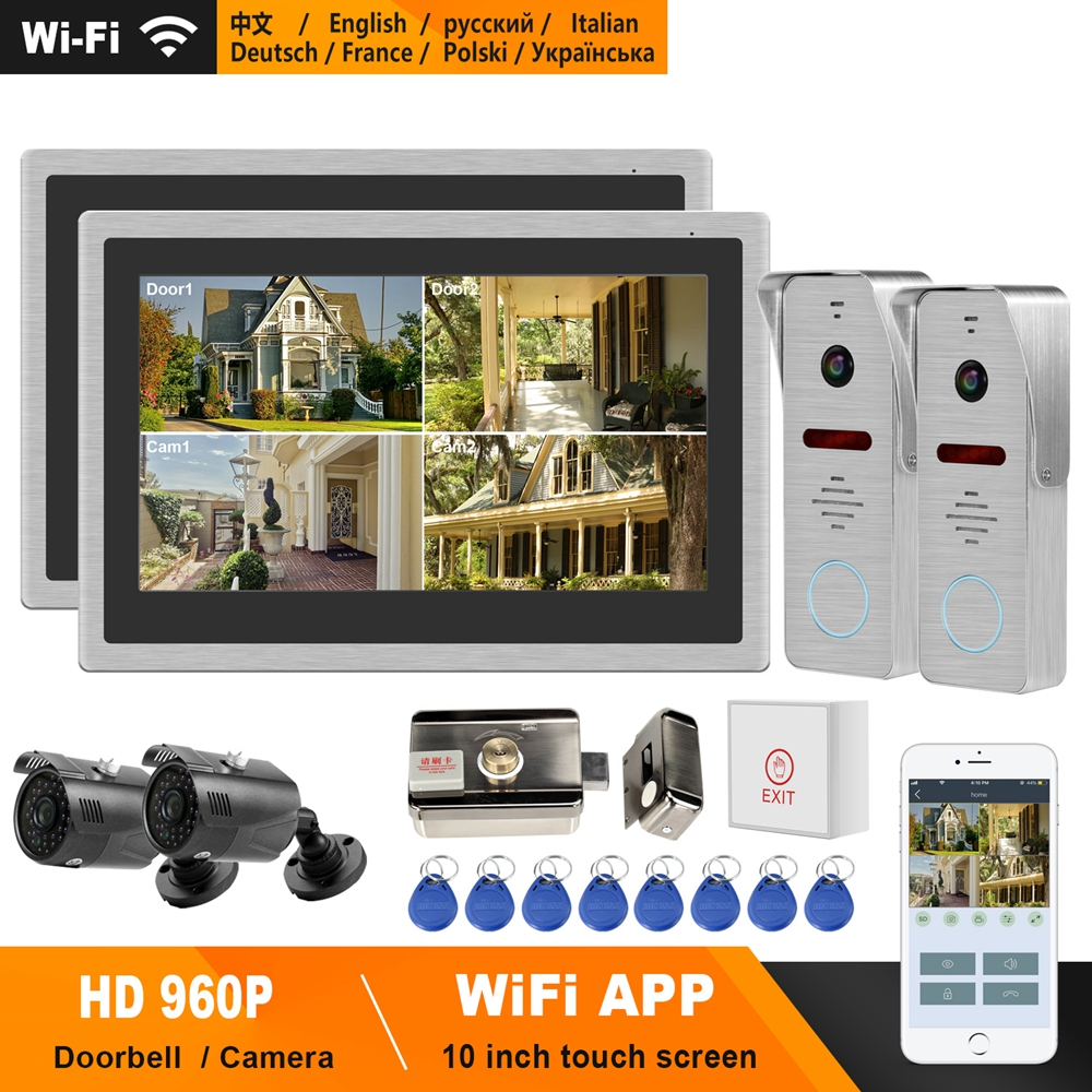 HomeFong WiFi Video Door Phone IP Intercom System 10 Inch Touch Screen Support Phone APP Real-Time Control  Electric Lock Unlock