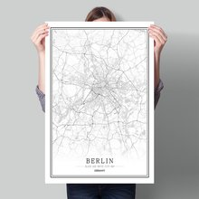 Germany Black White World City Map Poster Nordic Living Room  Berlin Bonn Munich Wall Art Pictures Home Decor Canvas Painting