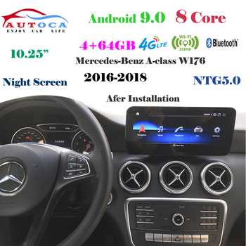 8 Core 4G 10.25Android 9 display for MERCEDES BENZ A class W176 2016-2018 Navigation radio stereo dash multimedia player carply image