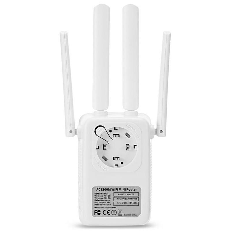 Wireless Cross Wall Router 1200M Dual-band Wifi Mini Enhanced High Power Repeater DNJ998