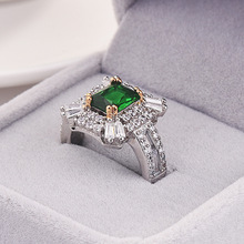 Female Ring Luxury Green Stone Wedding Jewelry 925 Silver Filled Zircon Engagement Promise Rings for Women