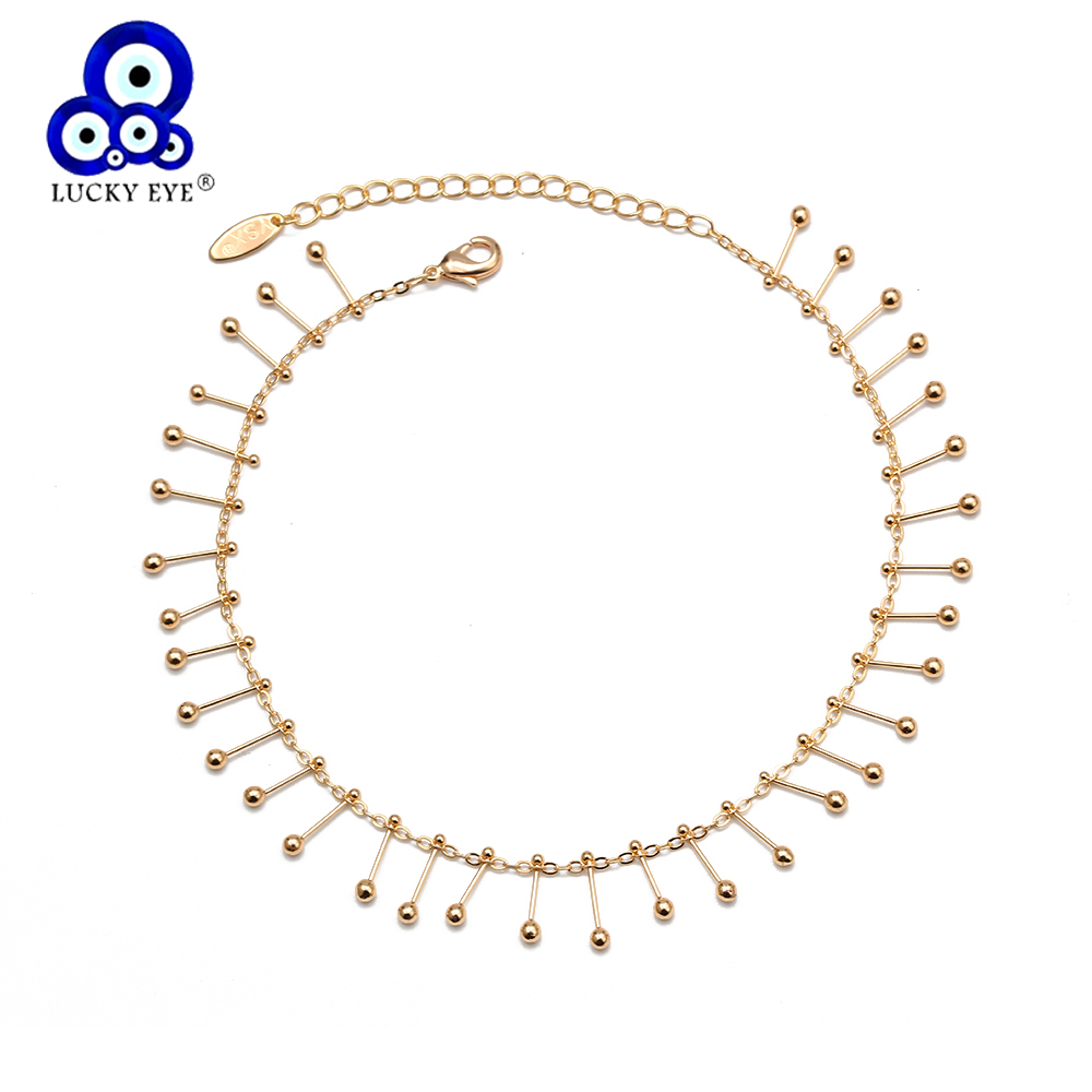 Lucky Eye Copper Tassel Anklet Gold Color Foot Chain Ankle Bracelet Adjustable for Women Girls Fashion Summer Beach Jewelry BD80
