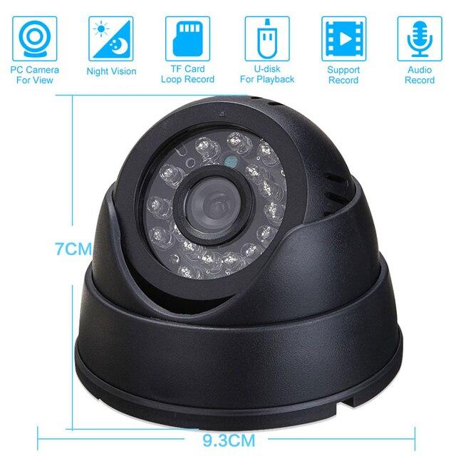 טלוויזיה במעגל סגור DVR מקליט ראיית הלילה כיפה עם IRCUT טלוויזיה במעגל סגור לולאת DVR/צליל מקליט מצלמת אבטחת USB תמיכת 32 GB TF כרטיס