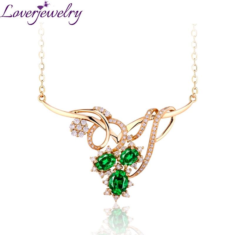 Loverbijoux Extravagant reine Style collier femme mode émeraude collier ange avec diamant naturel 18K or jaune WP052