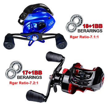 18 + 1 Metal Bearing Fishing Reel 7.1: 1 Bait Casting Reel Left/right Hand Fishing Reel with One-way Clutch Bait Fishing Reel