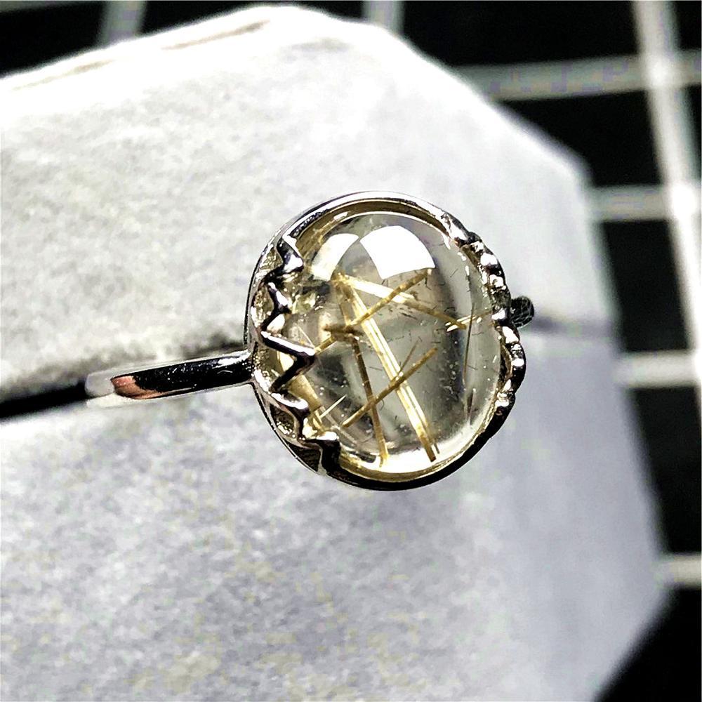 12mm topo natural ouro rutilated anel para mulher senhora homem cristal redondo contas de pedra de prata quartzo ajustável anel jóias aaaaa