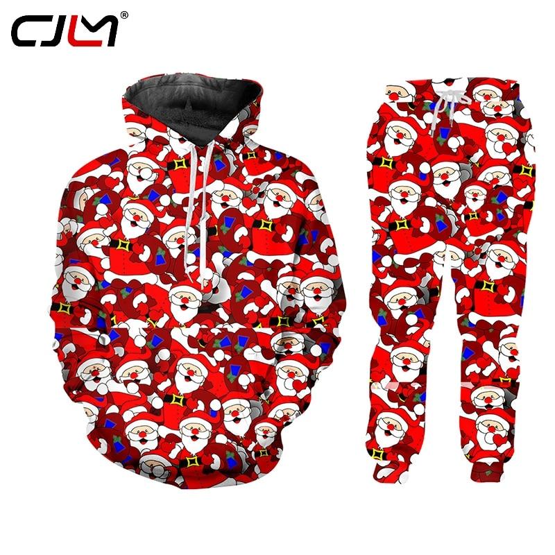 CJWI Casual Streetwear And Pants Christmas Halloween 3d Zip Hoodie 2-piece set Hoodie Pullovers Men/Women Tracksuit Custom
