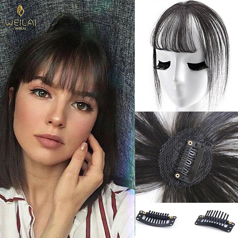 Черная светильник вая челка WEILAI с зажимом, шиньоны для женщин, челка с зажимом для наращивания волос, синтетическое высокотемпературное вол...
