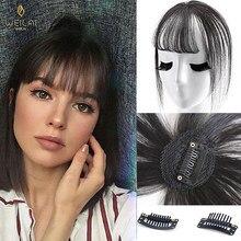 Weilai preto luz marrom clipe em franja hairpieces para mulheres franja grampo em extensões de cabelo sintético fibra de alta temperatura