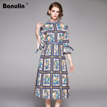 Banulin Autumn Women Long Dresses 2019 Holiday Luxury 3/4 Flare Sleeve Fashion Patchwork Print Porcelain Romantic Runway Dress