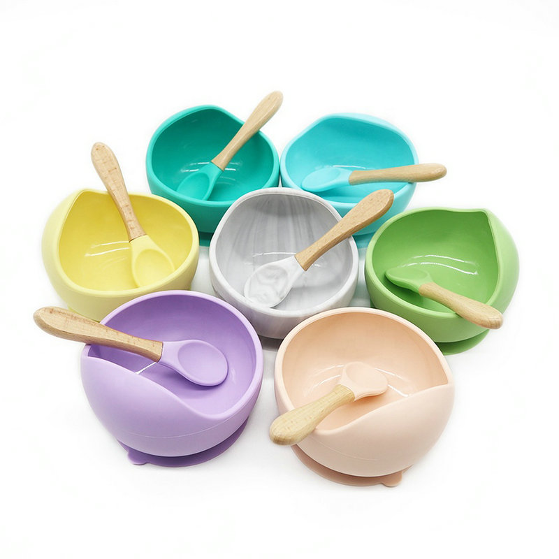Baby Feeding Set Tableware For Kids BPA Free Silicone Bowl Organic Wooden Spoons Kids Waterproof Non-Slip Suction Bowl