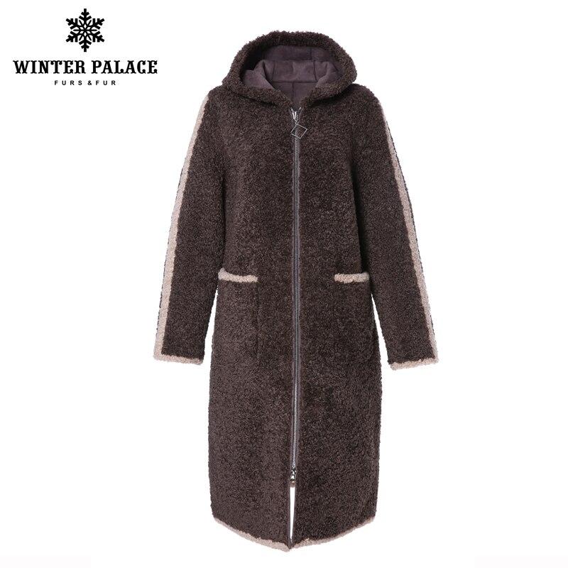 Pałac zimowy 2019 kobiet nowy płaszcz z wełny długi trencz z kapturem granulowany wełna zawiera 30% zamek zimowe ciepłe futro w Sztuczne futro od Odzież damska na  Grupa 1
