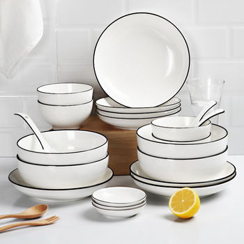 1pc White Dinner Plate Set Ceramic Kitchen Plate Tableware Set Food Dishes Rice Salad Noodles Bowl Soup Kitchen Cook Tool