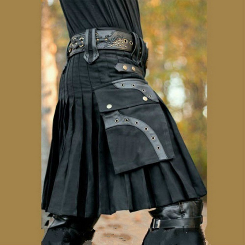 Sfit New 2020 Scottish Kilt Unisex Scotland Classic Retro Gothic Pleated Skirt Hip Hop Shorts Sashes Pocket Knee Length